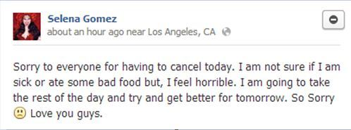Unfortunately, Selena has not been feeling too well lately and she had to cancel her interviews for today.