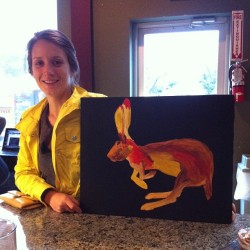 hipporacle:  yay! another happy buyer! bye, bye jack rabbit painting! 🐰🎨 (at Inversion Coffee House)