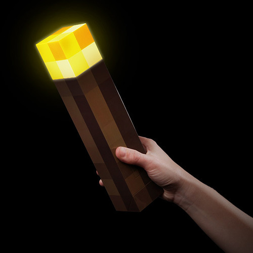 it8bit:  Minecraft Light-Up Torch Available for $34.99 at ThinkGeek. via copiouslygeeky: Just mount it on your wall because it looks cool and maybe, MAYBE it'll keep zombies away. So far, it seems to be working. Have you seen any zombies lately? Didn't think so.