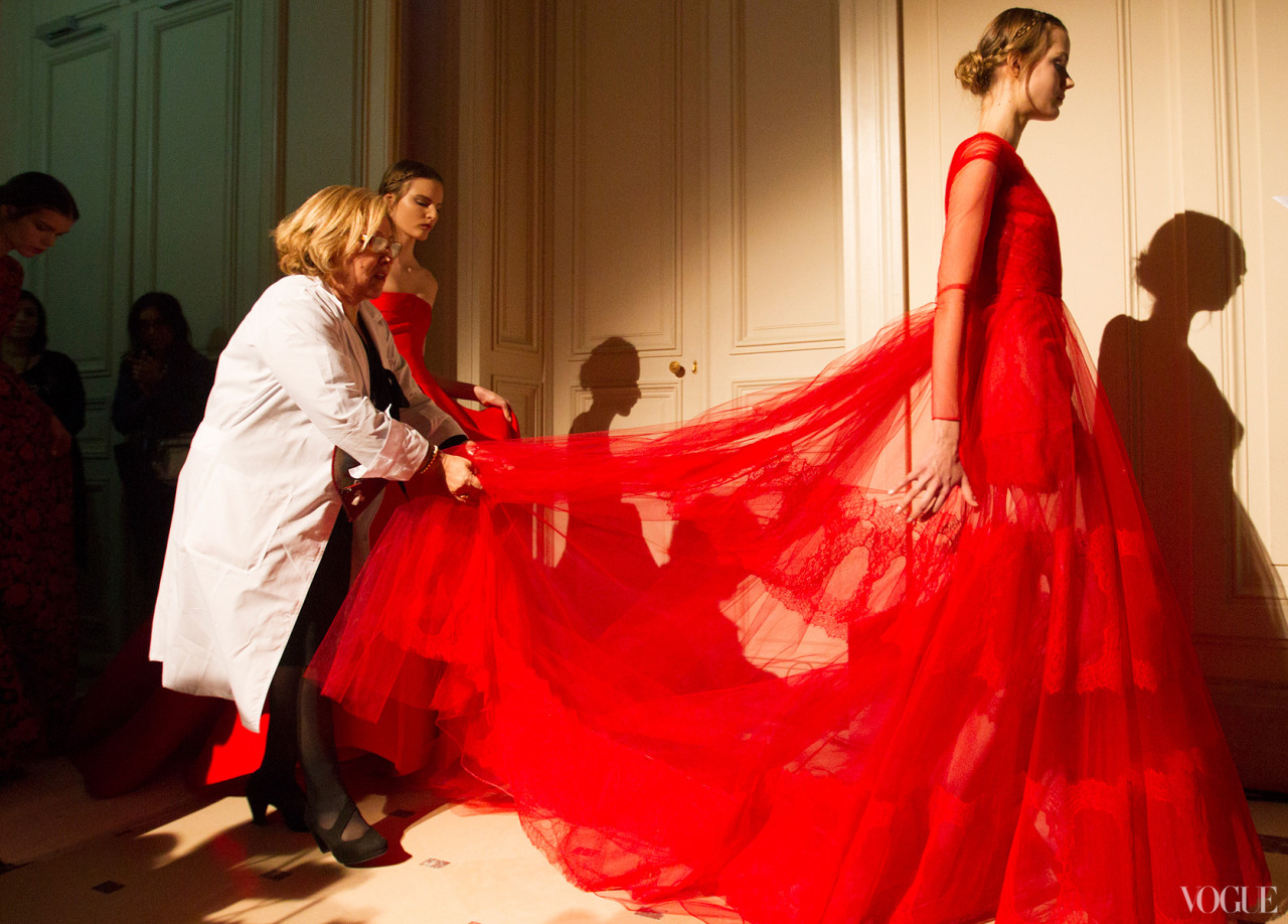 vogue:  Valentino Spring 2013 Couture Vogue's View: Behind the Scenes at Spring 2013 Couture Fashion Week Photographed by Kevin Tachman See the slideshow