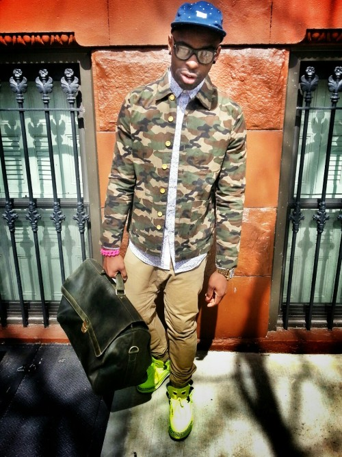 blackfashion:  Andre Perry, 30, Brooklyn AndrePetty.tumblr.com Jacket: Topman, Shirt: H&M, Pants: Topman, Sneakers: Jordan Spizikes, Hat: 10 Deep, Glasses: Tom Ford