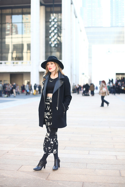 what-do-i-wear:  hat: otte / top + skirt: topshop / tights: h&m / jacket: zara / boots: c/o hugoboss / necklace: c/o baublebar / watch: coach / lipstick: NARS heatwave (image: eatsleepwear)