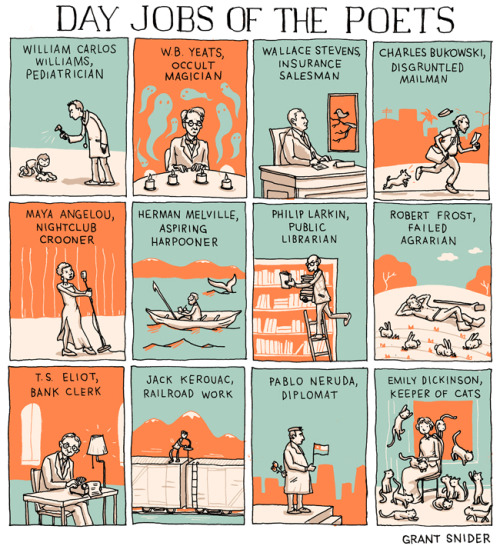 incidentalcomics:  Day Jobs of the Poets  My life might look similar to this sometime soon.. I'm okay with it :)