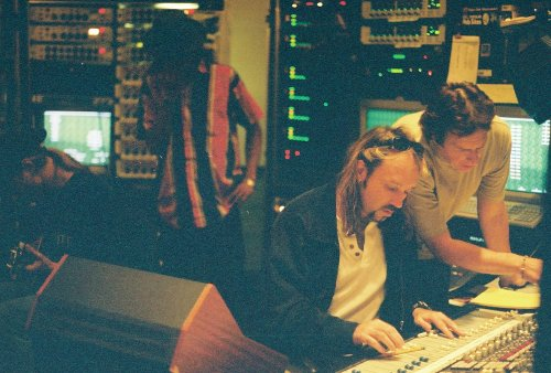 Bryan Carlstrom (foreground), who engineered Alice in Chains' Dirt, has passed away. He was 51. The above picture, featuring guitarist Jerry Cantrell, bassist Mike Inez, Carlstrom and producer Dave Jerden, presumably was taken during Alice in Chains' Music Bank sessions in 1998. (H/T David de Sola)