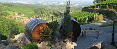When wine o'clock rolls around, find yourself nestled in a Sleeping Barrel in the Rhine Valley. Translated from the German website (courtesy of Google Translate): Our farm is located about 350 meters above the flowers and wine village Sasbachwalden, right at the foot of the Hornisgrinde, Hotopp beautiful Black Forest. Our sleep barrels on Quince space right in front of our farm with stunning views over the Rhine valley to the Vosges. Here you can enjoy the best views of all our courses.   All drums are equipped with 2 m double beds, but which can be separated on request. Parking is located directly on the farm. Our sleep barrels you can reach from there only on foot.