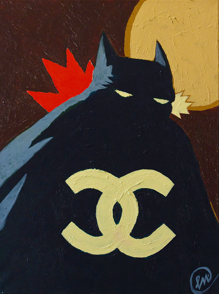 BRUCE WAYNE'S LOOSE CHANGE  (2013)  ACRYLIC ON CANVAS,  18 X 24 INCHES