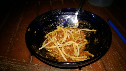 Mmmmm, yummy spaghetti made by yours truly :]  Came out quite a success!  … … … I don't cook often.  :D