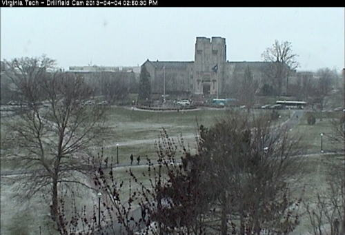 Click on the photo to see a live webcam of the snow in Blacksburg. It's coming down pretty hard. And sticking.