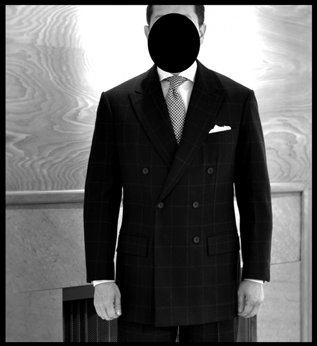 The DB Box Check Suit. By Steed (Edwin DeBoise), executed in the old H. Lesser & Sons Lumb's Golden Bale.
