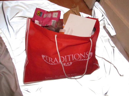 TRADITIONS bag used as bin object and performance, 2012