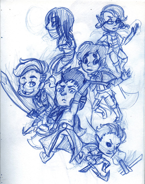 bat-tree:  Really messy itty bitty D&D characters in an anime waterfall. I might clean this up later idk.  cute omg!!!!!! omg
