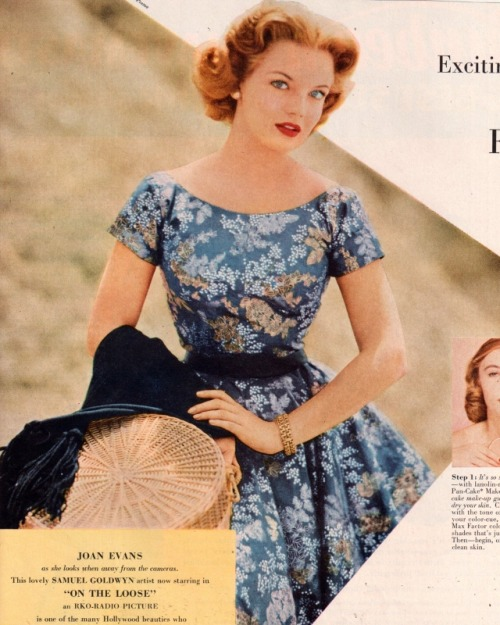 theniftyfifties:  Actress Joan Evan in a floral printed summer dress, 1950s