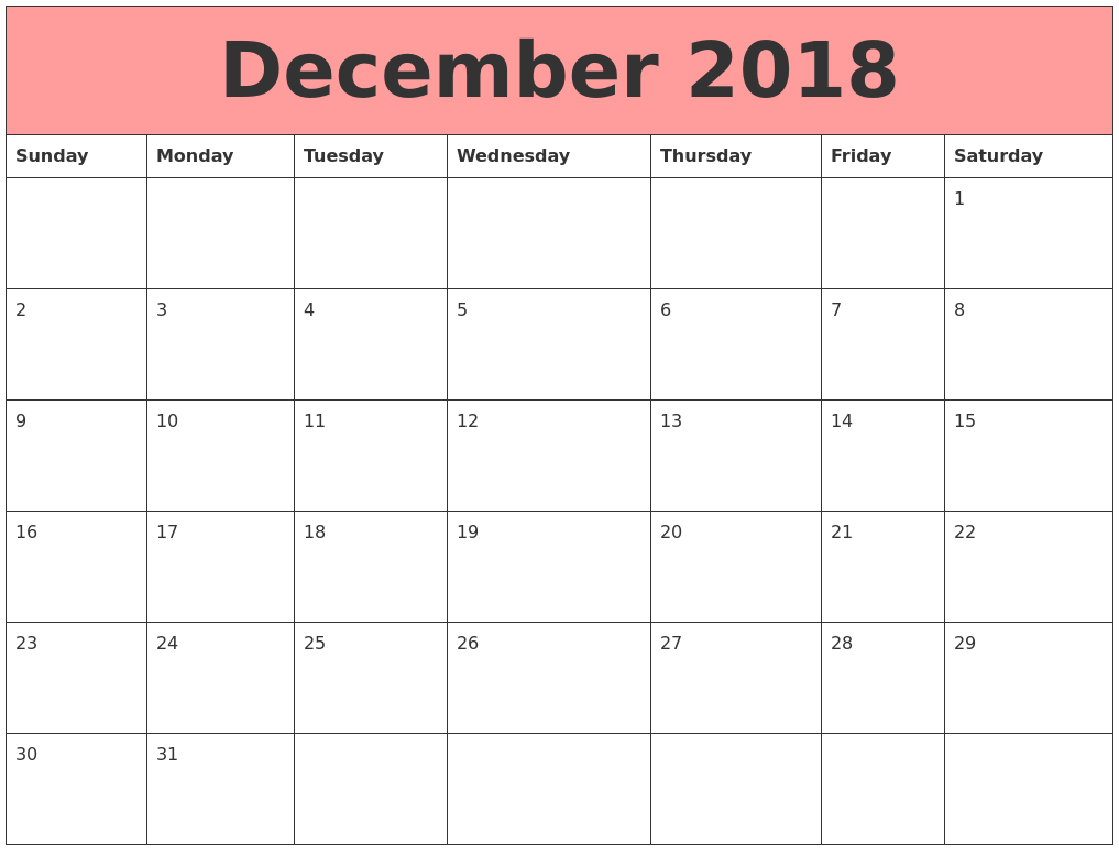 free printable 2018 monthly calendar with holidays