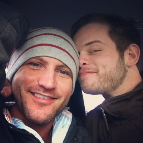 fuckyeahgaycouples:  Rick (left) and Me (Dom).  I'm really happy when I'm with him.  We both enjoy date nights with pizza and junk food. I hope were together for a long time.