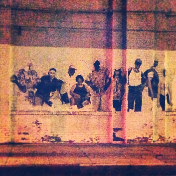 Looks like a #familia photo #art #wheatpaste #art #streetart #dtla #fashiondistrict #homies #latin #culture