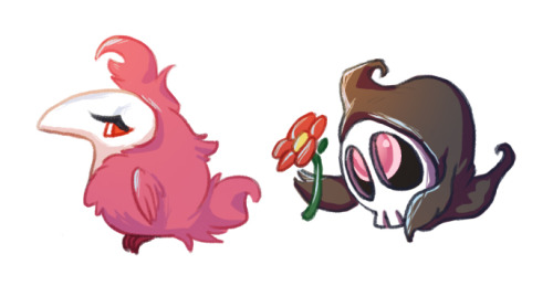 hballard:  Felt like drawing some pokemon. I was always amused by how similarly shaped spritzee and duskull are considering they're almost complete opposites. So cute! My headcanon is that the duskull is named Petunia and is crushing on a pretty-boy spritzee named Elvis….after they've both fully evolved she carries him around like a chauffeur and they have pleasant picnics in a field of flowers together~