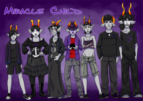 cladomasochist:  Once upon a time, I did a cast lineup for Miracle Child and it was kind of mediocre. But now. Now I have civvies and solid relative heights and confirmed paint designs.  Somehow, this picture became compositionally all about Rossan. Geeze, Rossan, way to be dead-middle in a height lineup and also wear the most obnoxious colors. And you're not even paying attention.  Rude, Rossan. Rude.  Rossan is basically the worst.