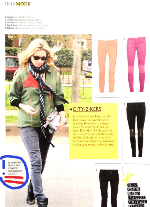 Kate Moss in C.r.a.f.t Jeans in this weeks German Grazia Edit.