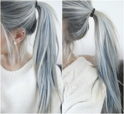 cute fashion style pastel long hair pastel hair elegant colored hair dyed hair ponytail earrings pastel goth white hair silver hair gray hair grey hair peircings