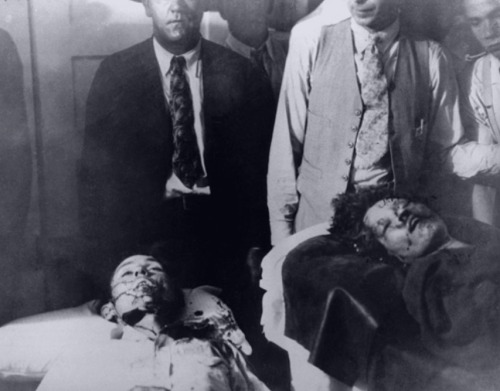 vintage-freakshow:  chivo-blanco:  vintage-freakshow:  Bonnie and Clyde dead  My grandparents have original prints of the autopsy photos. My great grandfather was sheriff of the county in which they were gunned down.  Holy shit please post them. That is amazing.