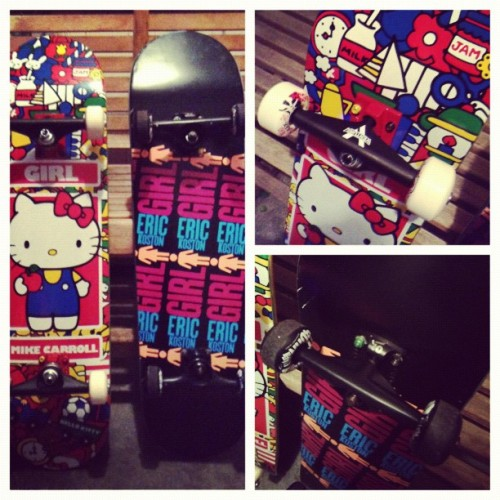 Our setups:                           Hers: mike carroll girl deck, red and black venture trucks, bones super red bearings, grizzly grip and bones stf wheels.                Mines: eric koston girl deck, black tensors, bones super red bearings, grizzly grip and spitfire wheels ( now replaced with pink rictas) I do pretty good. :D