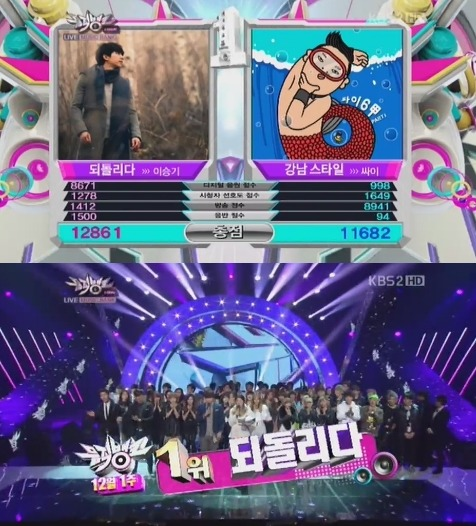 "Lee Seung Gi beats out Psy's ""Gangnam Style"" on 'Music Bank'"