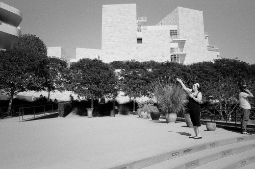 "ILFORDHP5_APR2013-9 on Flickr. A trip to the Getty Center (Los Angeles), on a bright Sunday afternoon.* This lady was caught in the act of waving to her friends from across the gardens. * If you're in LA, especially if you live in LA, I highly recommend the ""Overdrive"" exhibit."