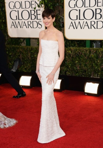 Anne Hathaway in Chanel at the 2013 Golden Globes