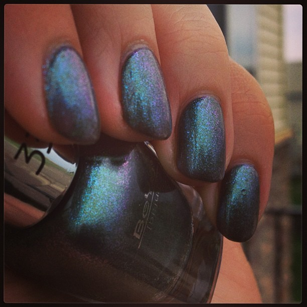 Added another layer to my NOTD - BeYu 330!  A gorgeous duochrome! #notd #nails #nailpolish #nailsoftheday #nailsofinstagram