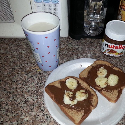 My attempts at eating #healthy as I can #breakfast #nutella #yum #almondmilk #bananas #foodporn