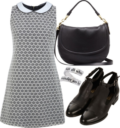 Untitled #1639 by ieleanorcalderstyle featuring a satchel bag  Miss Selfridge shift dress / Topshop cut out boots / Mulberry satchel bag / Pendant jewelry