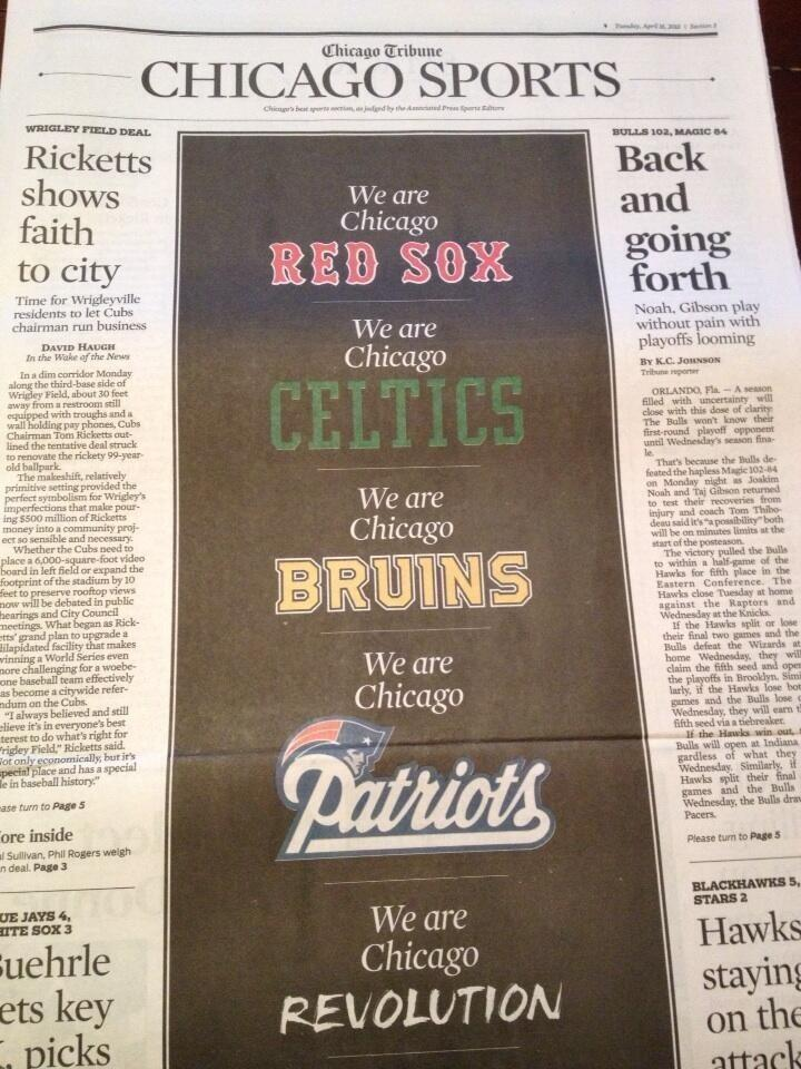 The Chicago Tribune dedicates the front of the sports page to Boston today.