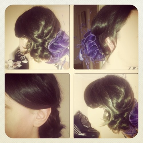 Messy side bun with sweeping side fringe from today's trial x x x