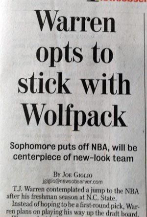 Headline refers to freshman T.J. Warren as a sophomore.