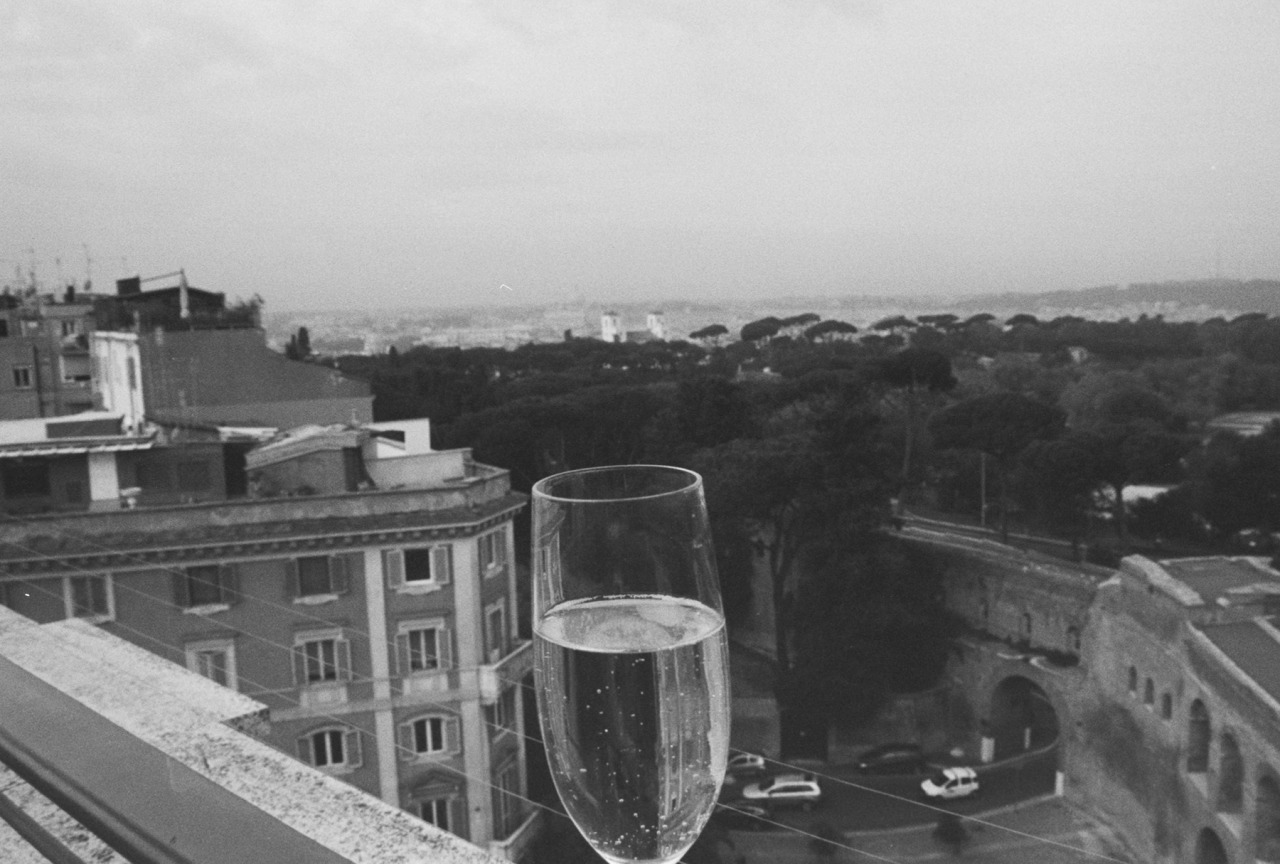 champagne over the via veneto, black and white film, rome, italy, 2012