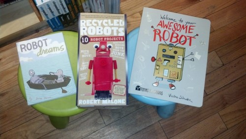 "OH in the kids section: ""Honey, not all books are about building robots."" Well, NOT YET!!! BWAH HA HA HA HA HAAAHH."