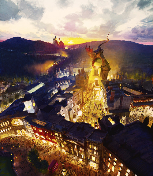The Wizarding World of Harry Potter - Diagon Alley will come to life at Universal Orlando Resort in 2014. Guests will travel between 'London' and the existing Hogsmeade at Universal's Islands of Adventure aboard the Hogwarts Express - just like in the books and film. Diagon Alley and 'London' will feature shops, a restaurant and an innovative, marquee attraction based on Gringotts bank. [x]