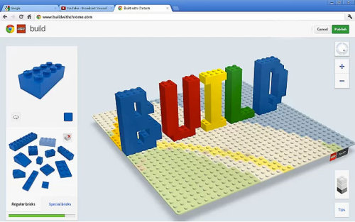CONSTRUCT LEGO CREATIONS WITH GOOGLE CHROME:  From the comfort of your computer now you can build LEGO creations all over the globe.  Visit www.buildwithchrome.com and enjoy!
