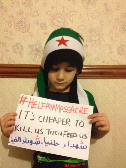 "syrianfreedomls:  12/23/2012 - #Syria - Picture: It's cheaper to kill us than feed us. #Helfayamassacre (via @RazanSpeaks)  Response to the Helfaya massacre which took place today in Hama, Syria. While the residents of Helfaya town were lining up at the ""Baladi Bakery"" in Helfaya city for bread, Bashar Al-Assad's warplanes shelled the bakery with MiG warplanes which resulted in the death of more than 300 people thus far as well as many injuries. Rescue workers have been trying to collect the martyr's body parts scattered around the bakery as a result of the blast. A state of chaos overwhelmed the city whose population is about 3000 persons. Today was the first day Helfaya had flour in 7 days, hence the reason so many people were crowded around the bakery. Source: [video of aftermath of massacre] - WARNING! GRAPHIC 18+++ Disturbing and heartbreaking. Where is the world?"
