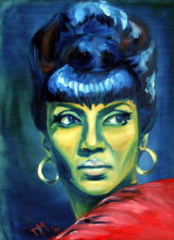 fuckyeablackart:  Original Oil Painting Fan Art of Uhura  Star Trek Trekkies  High Quality Print 8x10
