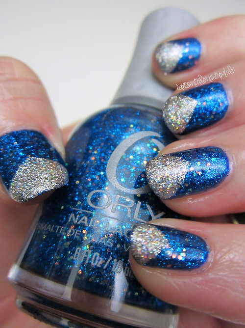 12.06.12 Finger Paints Artist's Sapphire Orly Angel Eyes Kiss Nail Art Silver glitter franken