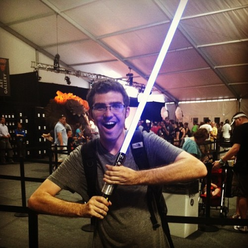 This light saber is the closest you are gonna get to a real one. It lights up and makes sounds when you hit it! And it's not plastic #starwarsweekend