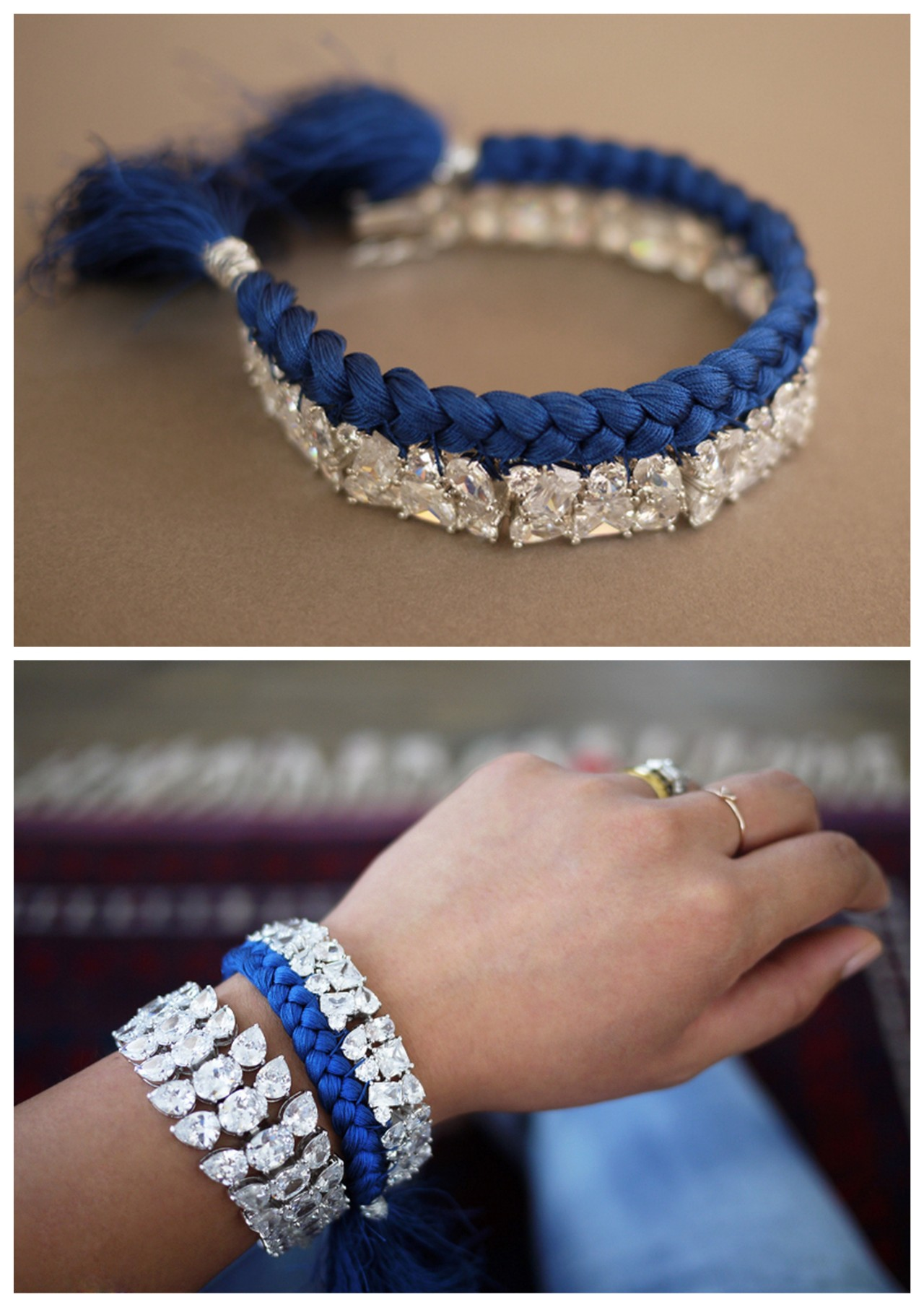truebluemeandyou:  DIY Easy Braided Silk Thread Rhinestone Bracelet Tutorial from Honestly…WTF here. Pick up a cheap rhinestone bracelet from anywhere and upgrade it with this really easy and well explained tutorial. As always, for pages more of DIY bracelets go here: truebluemeandyou.tumblr.com/tagged/bracelet **For identical bracelet and necklace tutorials of this Jolita inspired braclet go here: truebluemeandyou.tumblr.com/tagged/jolita  I want to make one of these!