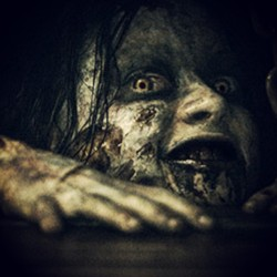just watched Evil Dead with Monika. #evildead #scary #stayuntilafterthecredits #beforeithittheaters #theseseatsaretaken #lostboys #tonguebifurcation