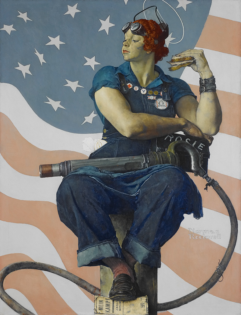 Rosie the Riveter by Norman Rockwell - 1943 I love this picture. I love her face, her arms, her stance, all the little details, even the sandwich. It's perfect. Click the image to learn more about the history of Rosie, listen to the song and see more historic pictures.