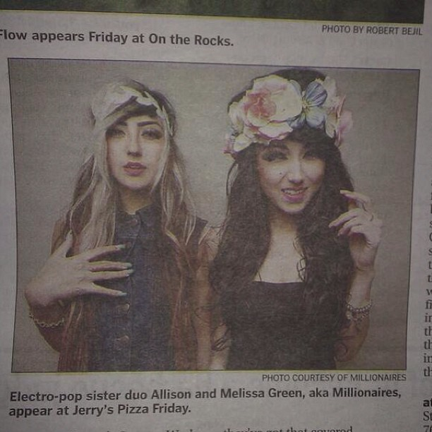 We're in the newspaper in Bakersfield! See you tonight Bako! Love you! ❤🍻🎤🎀🚌👯 #tonighttour #bakersfield #millionaires #newspaper #karbieben #sisters #tour