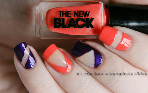 nailsbyveryemily:  Negative space nails using a 2-piece set by The New Black. Head over to my blog for all the details and swatches!