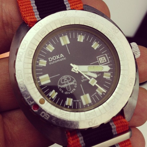 ablogtowatch:  This was Jaques Cousteau's personal Doxa Sharkhunter #watch #watchporn #baselworld2013 #ablogtowatch
