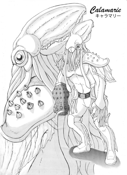 "Female Toku-Monster Concept 8: CalamarieConcept: A squid, obviously.""One of the most feared action-commanders not only in combat, but because she has a tendency to ensnare her victims and change their DNA chromosomes, while also sending electric shock waves afterwards just to see them suffer… Unfortunately, depending on the victim, this produces mixed results. Also can shoot acidic black ink from her arm cannon.""(Probably one of my favorite designs, because I was trying to get that look of something that can be in a Tokusatsu Hero show… And this happened. Though, after I finished this my instructor thought she 'looked tasty to eat' (O_o ?!) after I finished this… Was also thinking about putting her in some doujinshi someday.)"