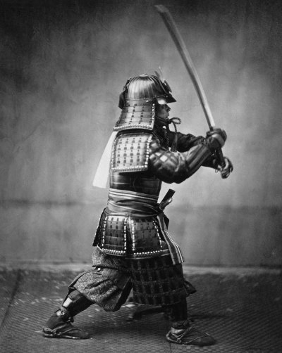 cosmosonic:  Armoured samurai with sword and dagger. c. 1860